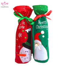 Christmas Table Decoration Drawstring Christmas Wine Bottle Ornament