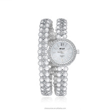 Top Luxury Brand Beauties Natural Stone White Quartz Beads Silver Fashion ladies stone pearl bracelet watch latest