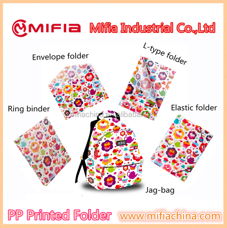 PP hard cover a4 size plastic pockets file folders & jag bag with printing for school office stationery