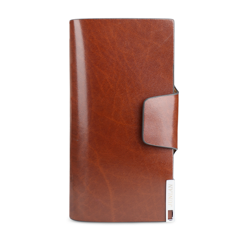 JUNLAN European Style Cohide Leather Long Section of Man Hand <strong>Wallet</strong> with Large Capacity and Multi Slot (Red Brown)