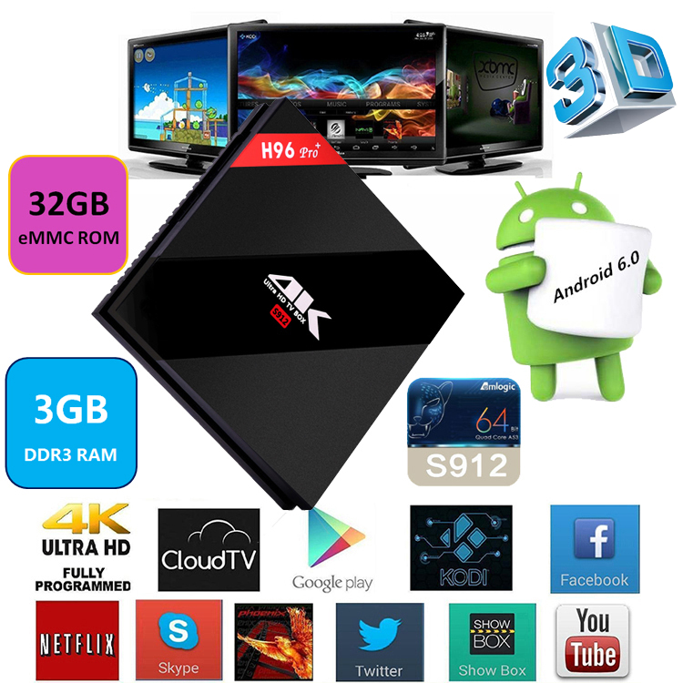 Online Free Live Tv Channels Kodi 17.0 4K 2K Full HD 3GB Ram 32GB Rom H96 PRO+ android tv box
