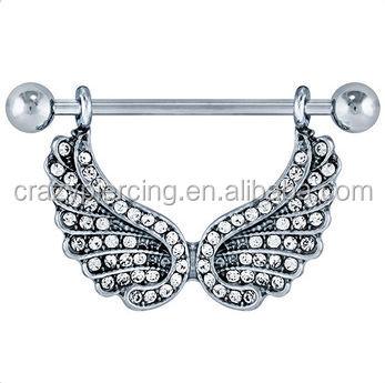 Beautiful cz angel shield nipple piercing wings buy for Angel wings nipple piercing jewelry