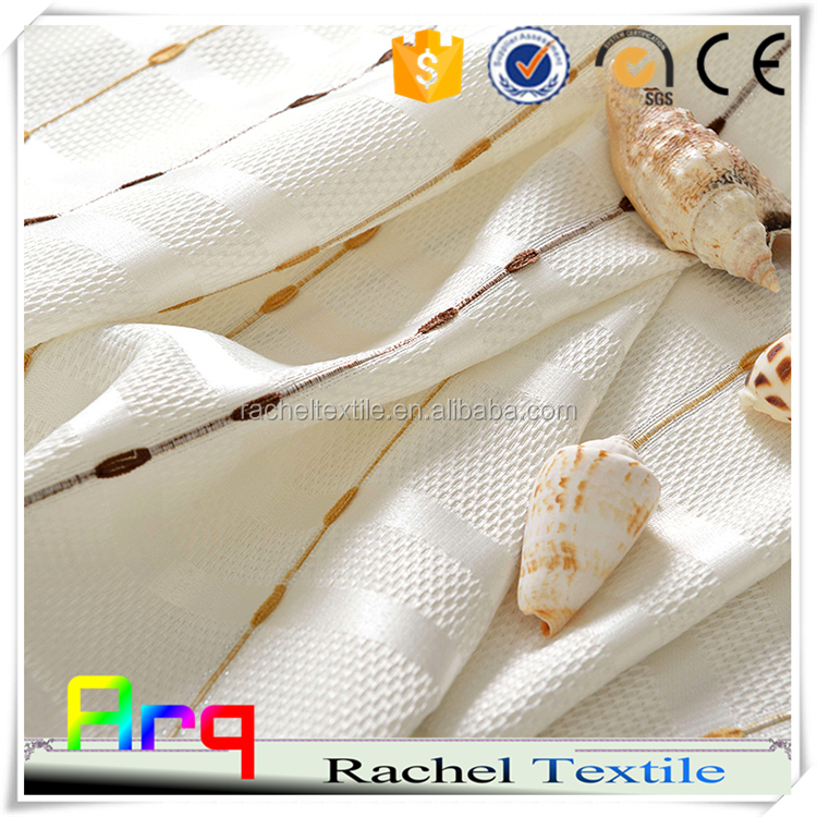 100% polyester embroidery Bead string pattern tcurtain- pure light color design for window/living room-