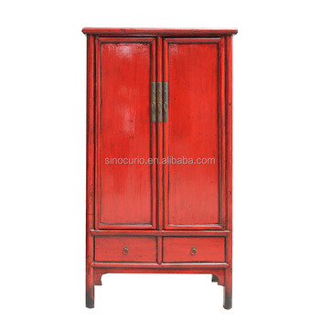 antique red Chinese antique production wedding cabinet wardrobe furniture