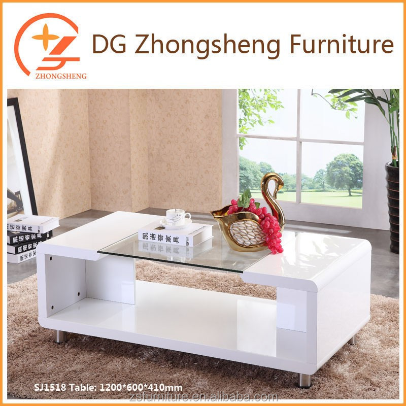 glass top MDF center table design with high glossy white color