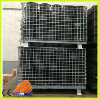 container for underground use folding stackable storage wire mesh basket contain