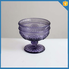 High quality purple color handmade glass footed ice cream bowl set