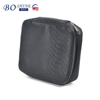 DONGGUAN BOSHINE Square crocodile skin pu leather professional makeup case empty with lighted mirror for travel ladies
