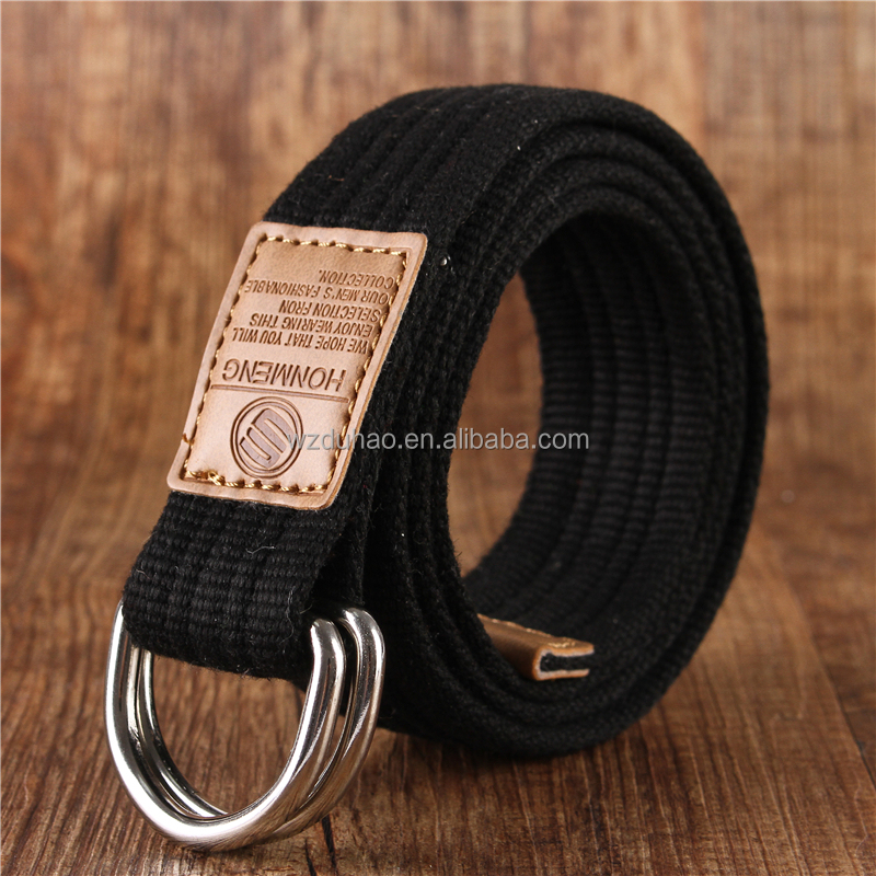 Causal 3.5cm Double Ring Braided Fabric Belts Canvas Cotton Belt For Men