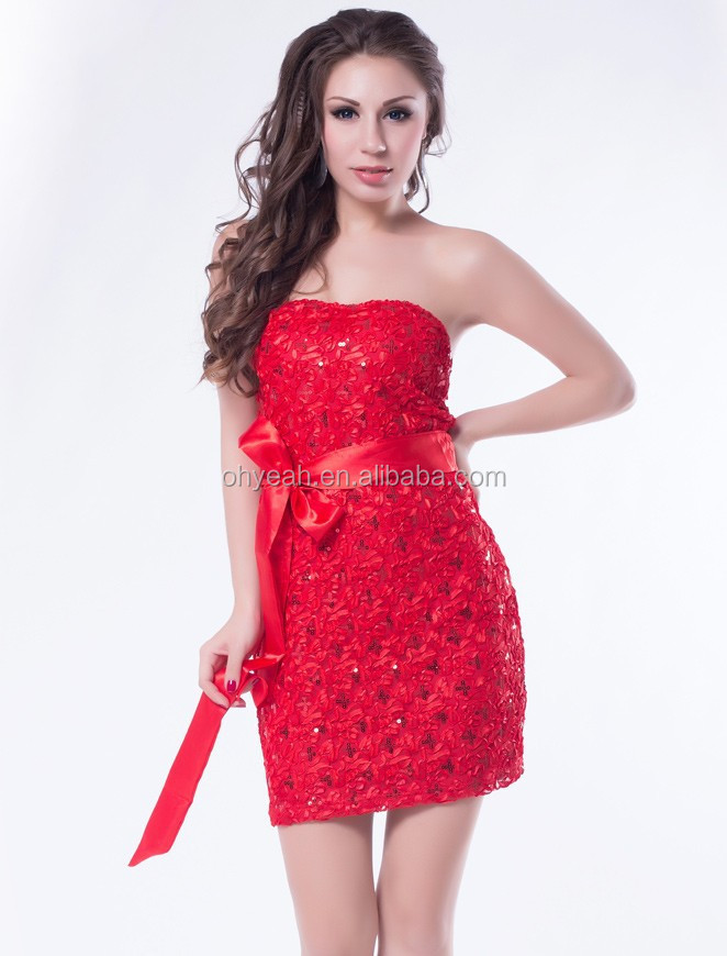 Fashion design with wholesale price full sequin 2015 red tube sex women party dress