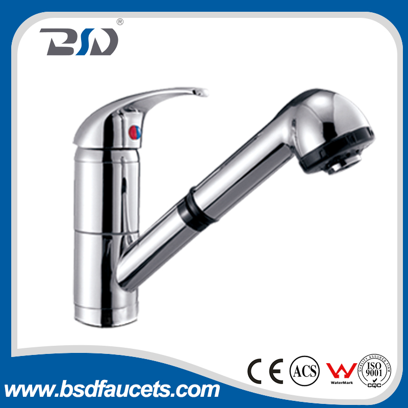 pull out Solid Brass Chrome Plated Basin Sink Kitchen Faucet Mixer Taps Made In China ABS Handset