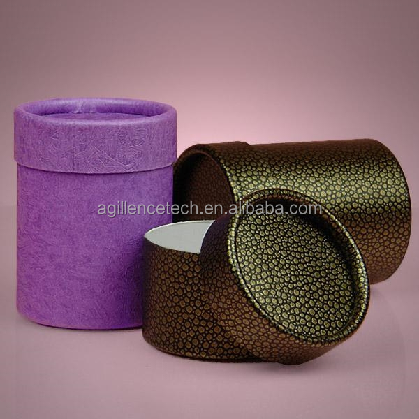 "2015 0.044"" Wall Thickness Elegant Look Cardboard Covered with Luxury Embossed Paper Cylindrical Containers Boxes"