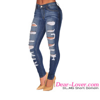Cheap Wholesale Women Blue Denim Pants Skinny Jeans