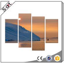4 Panels Beautiful greenland sunset landscape Oil Painting Print on Canvas Giclee Artwork for Modern Living Room Home Wall Decor