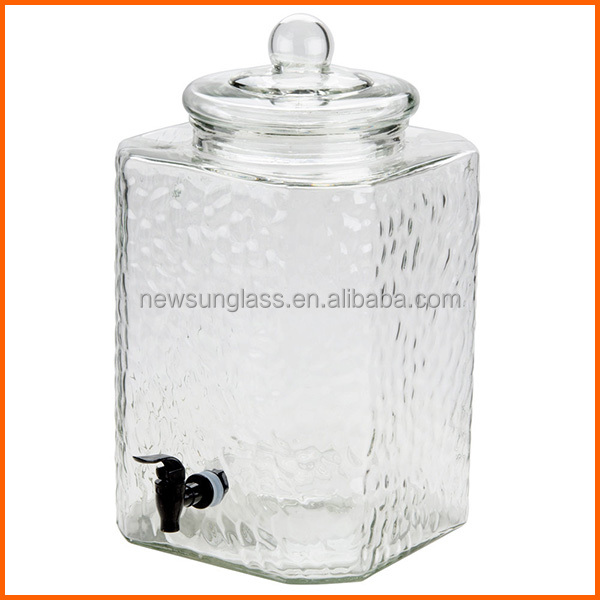 Square dispenser 5 gallon glass jar