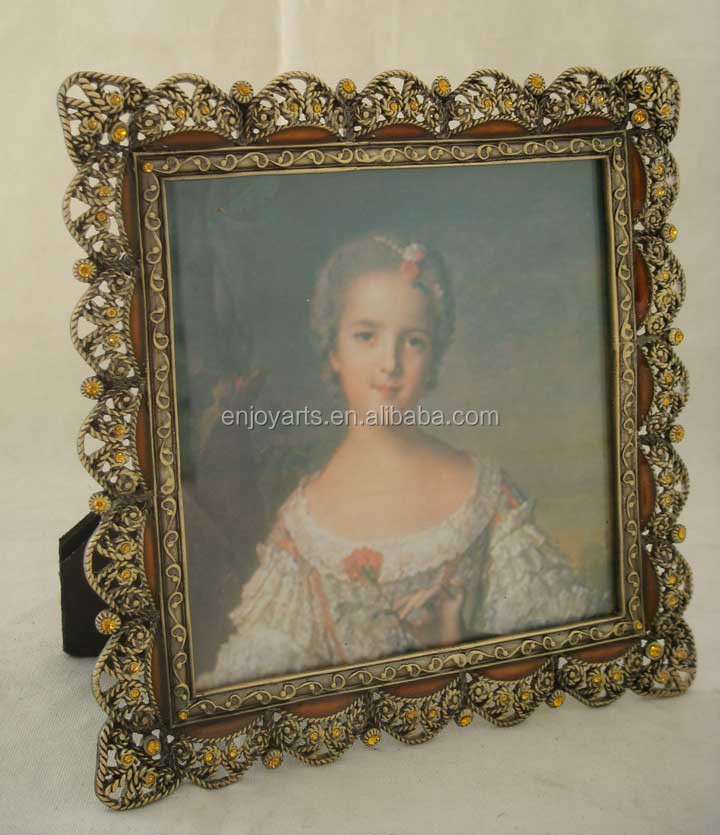 Shabby Chic Enamel Rhinestones Jeweled Metal Picture Frame (P0114955a)