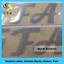 Custom Brand Name Sticker Metal LOGO Sticker in Silver or Gold