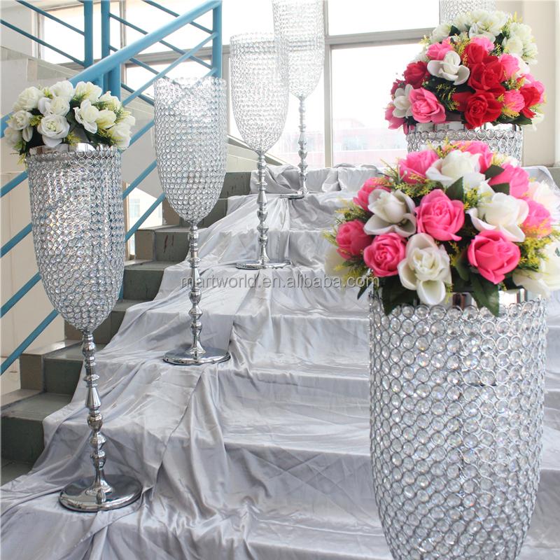 Hot Sale Crystal Vase Centerpiece Wedding Centerpiece Pillar Columns Walk Way Stand Wedding