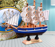 14/18cm home nautical decoration crafts wholesale wooden sailing ship model boat for living room