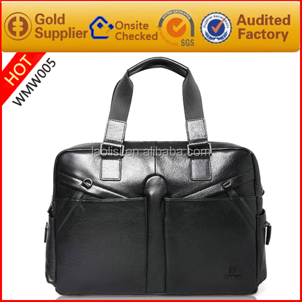 2017 latest Guangzhou supplier fashion high genuine italian leather end decent handdle men office bags