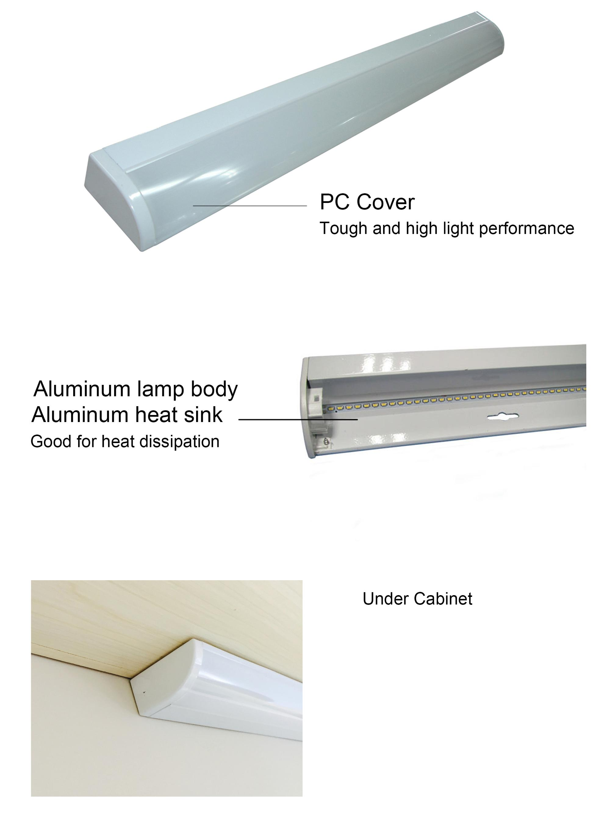 China supplier 1ft 2ft 3ft 4ft Supermarket dustproof led under cabinet lighting 10w 15w 20w emergency Usb interface closet light