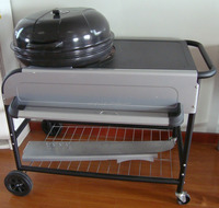 Apple BBQ grill, 22.5 inch round charcoal grill with wheels, large steel charcoal bbq grill