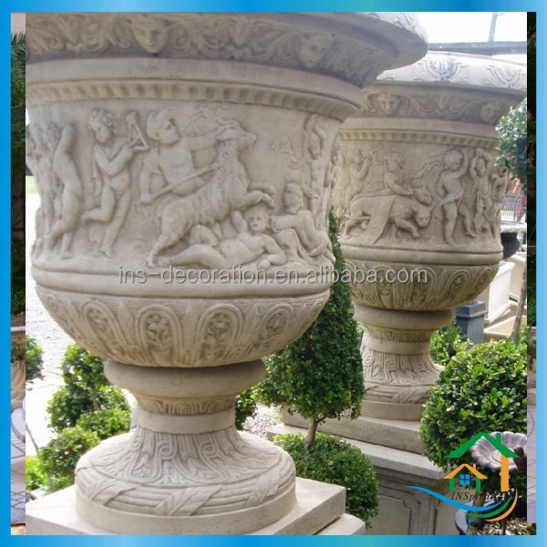 Cast stone antique pots and urns