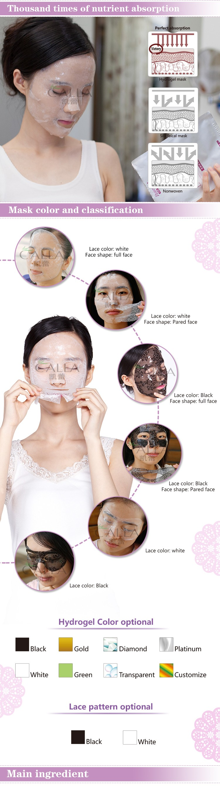 2016 new face care face mask china lace facial mask