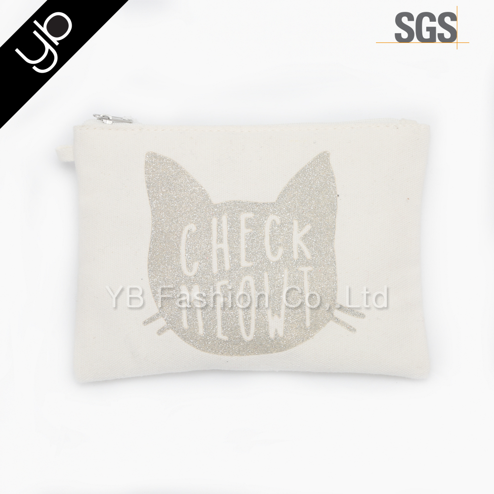 Custom Cat Printed Fashion Pouch Lady Make up Bag Cosmetic Bag Plain Canvas Travel gift Bag with zipper
