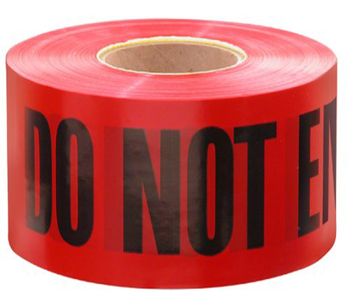 Red with Black Barricade Danger Warning Tape