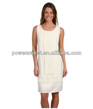 Wholesale sleeveless pictures semi formal white bodycon dresses for women