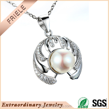 2016 new designs pendant crystal natural freshwater pearl pendant 925 silver jewelry