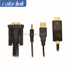 3.5mm audio+usb cable +vga to hdmi converter for notebook,DVD,camera
