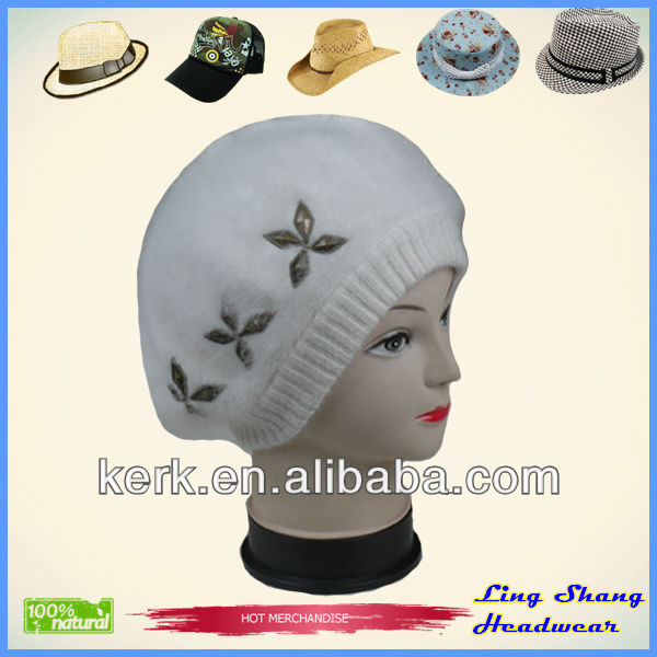 Rabbit Hair Hat/Fur hat/Fashion Wool Hat with Flower fur hats fashion wool hats , LSA44