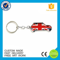 Wholesale UK flag souvenir design car metal printed custom keychain