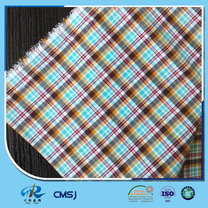 Cheap price polyester cotton yarn dyed plaid fabric for clothes