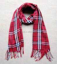 Fashion women plaid 100% viscose pashmina scarf