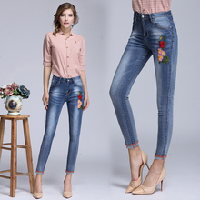 2017 New Pattern Embroidered Cowboy Ninth Jeans Pants for Lady