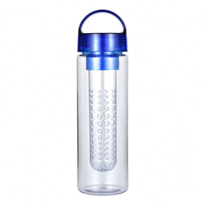 Factory Promotional Wholesale Bpa Free Reusable Clear Tritan Plastic Drinking Lemon Fruit Infuser Water Bottle With Custom Logo