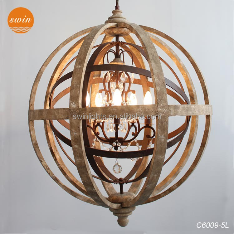 antique globe wooden chandelier lighting,crystal pendant lights with ul/ce C6009-5L