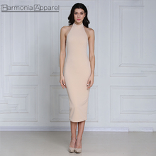 G066 blush colour backless mid-calf halter neck nice design casual latest fashion dress