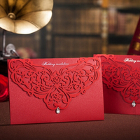 Special laser cut design folded invitation cards with buckle