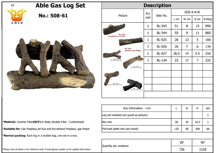 Ceramic logs for gas fireplace / gas stove and bio fireplace