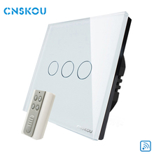 Null & Live Line energy saving EU standard 3gang wireless rf remote control light touch switch