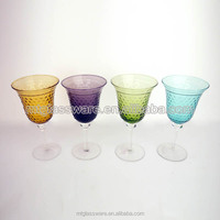 Solid colorful beverage glass drinkware,long stem promotion red wine glass