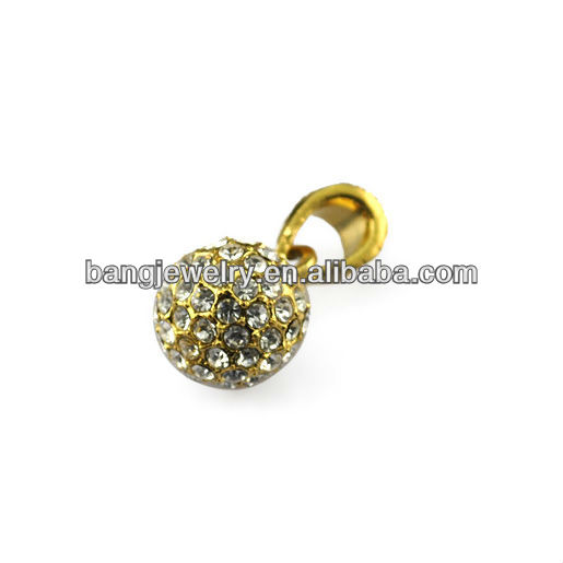 Gold planted ball pendant artificial diamond jewellery