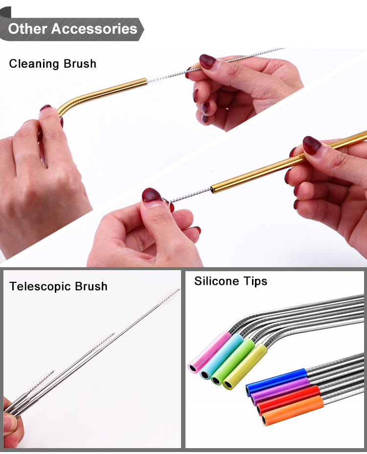 Reusable straw brush Short Rainbow Stainless Steel Straw 125mm cocktail straw
