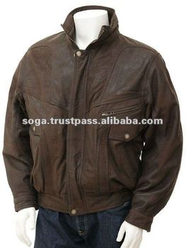 Men's Nubuck Leather Jacket in Brown