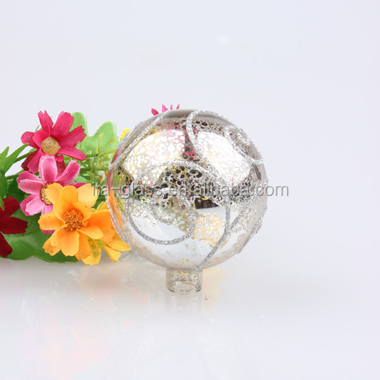 wholesale newly wonderful high quality glass ball decorative ornament hand painted xmas tree hanging glass baubles with cap