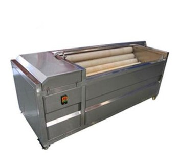 Brush roller washing and peeling machine for root vegetable cleaning